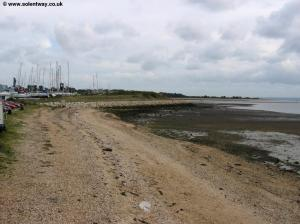 View along the beach to the river Hamble